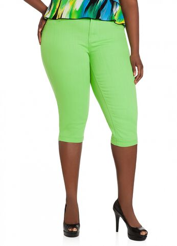 Lime Denim Capri