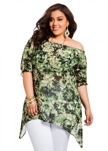 Camouflage Peasant Top