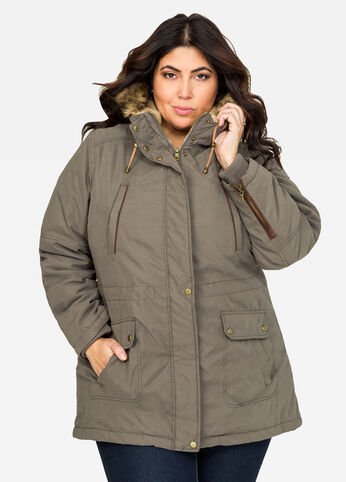 Sueded Hooded Parka Winter Coat