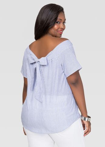 Plus Size Bow Tie Off Shoulder Top in Indigo - Back