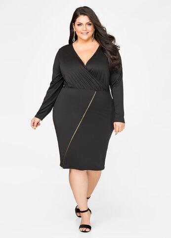 Surplice Exposed Zip Dress