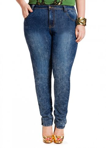 Zipper Leg Splatter Wash Jeans