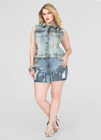 Destructed Sequin Jean Shorts