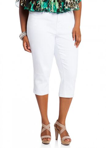 White Denim Capri