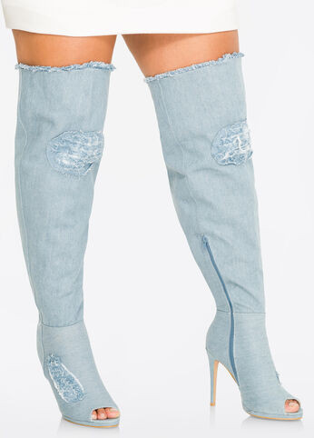 Denim Over The Knee Boot - Wide Calf, Wide Width