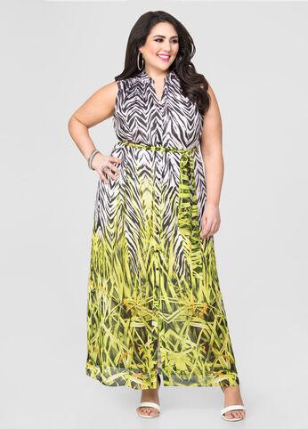 Mixed Print Maxi Shirt Dress
