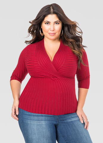 Deep V Fitted Ribbed Sweater