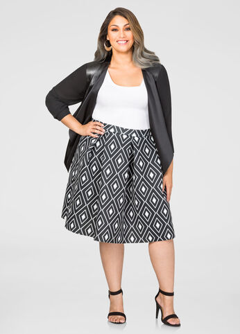 Geo Neoprene Box Pleat Skirt
