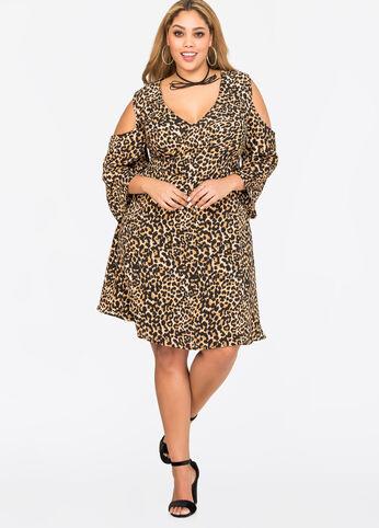 Leopard Deep V Cold Shoulder Dress
