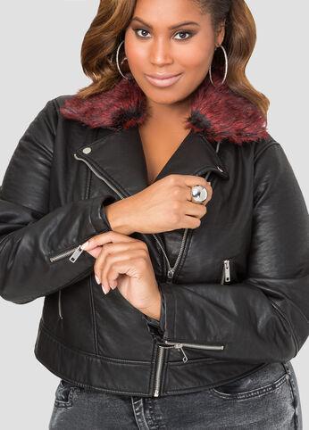 Red Fur Collar Heavy Moto Jacket