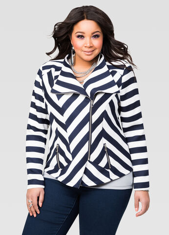 Textured Stripe Moto Jacket