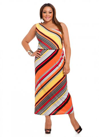 Striped One-shoulder Maxi