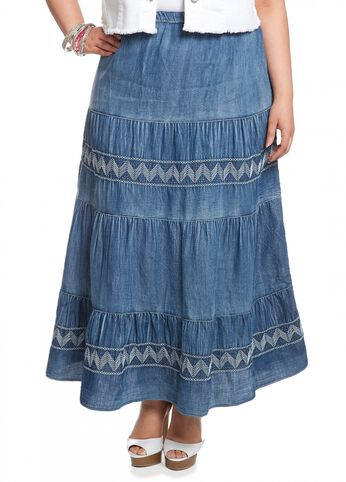 Zigzag Embroidered Skirt