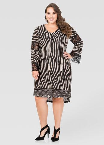 Lace Inset Zebra Hi-Lo Dress