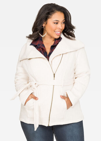 Fleece Tie Waist Coat