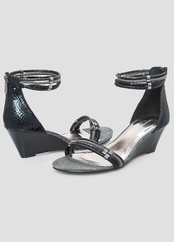 Multi Strap Mini Wedge Sandal