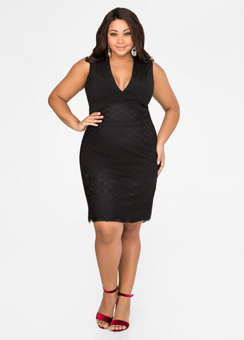 Bodycon Grid Mesh Dress