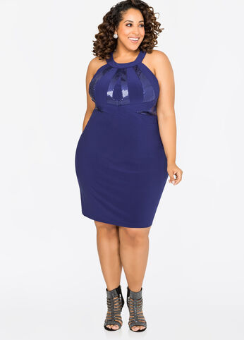 buy plus size halter dresses for women ashley stewart. Black Bedroom Furniture Sets. Home Design Ideas
