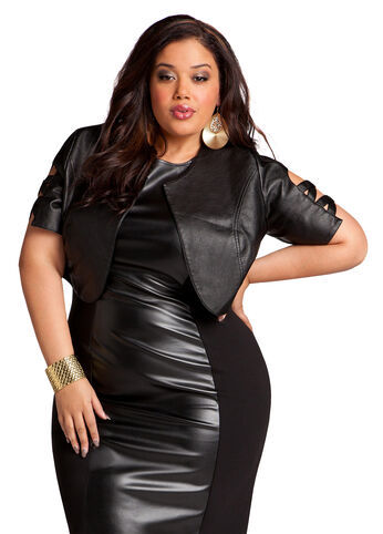 Faux Leather Cutout Cropped Jacket