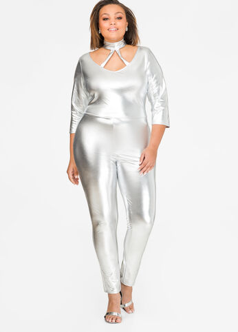 Metallic Mock Neck Catsuit