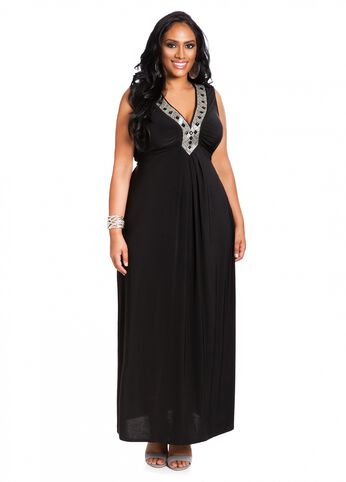 Web Exclusive: Bead Neck Trim Maxi Dress