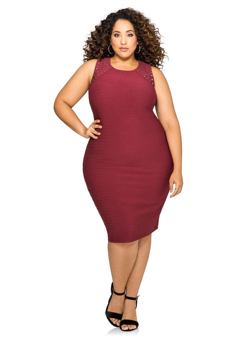 Plus Size Back Cut Out Stud Shoulder Dress 010 Fts368811