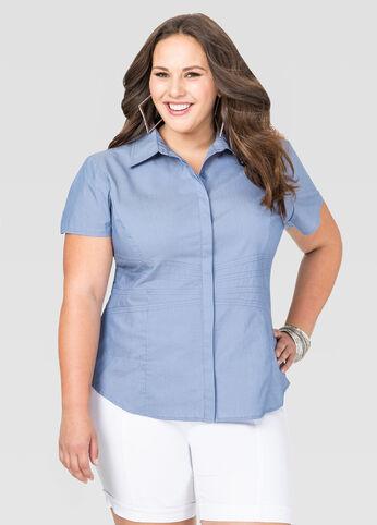 Chambray Waist Seam Shirt