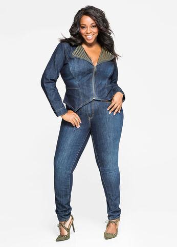 Trapunto Stitch Skinny Jean