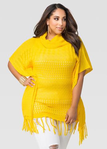 Cowl Fringe Poncho Sweater