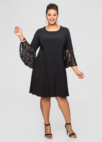 Sequin Bell Sleeve Dress-Plus Size Special Occasion Dresses-Ashley ...