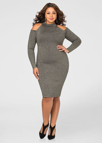 Metallic Cold Shoulder Bodycon Sweater Dress