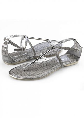 Crocodile Silver Tipping Thong Sandal