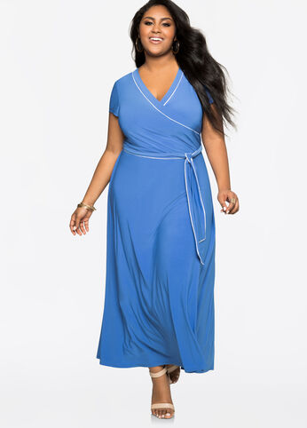 Piped Cap Sleeve Maxi Dress