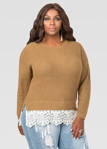 Lace Hem Pullover Sweater