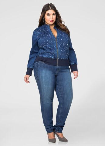 Bling Side Denim Skinny Jean