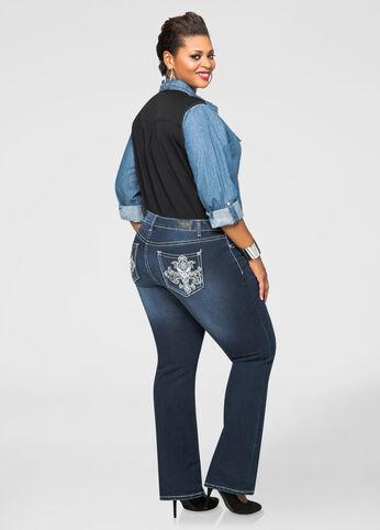 Embellished Back Pocket Bootcut Jean