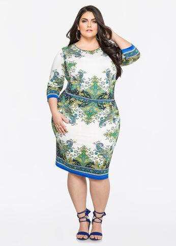 Border Print Blouson Dress