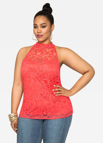 High Neck Lace Overlay Top