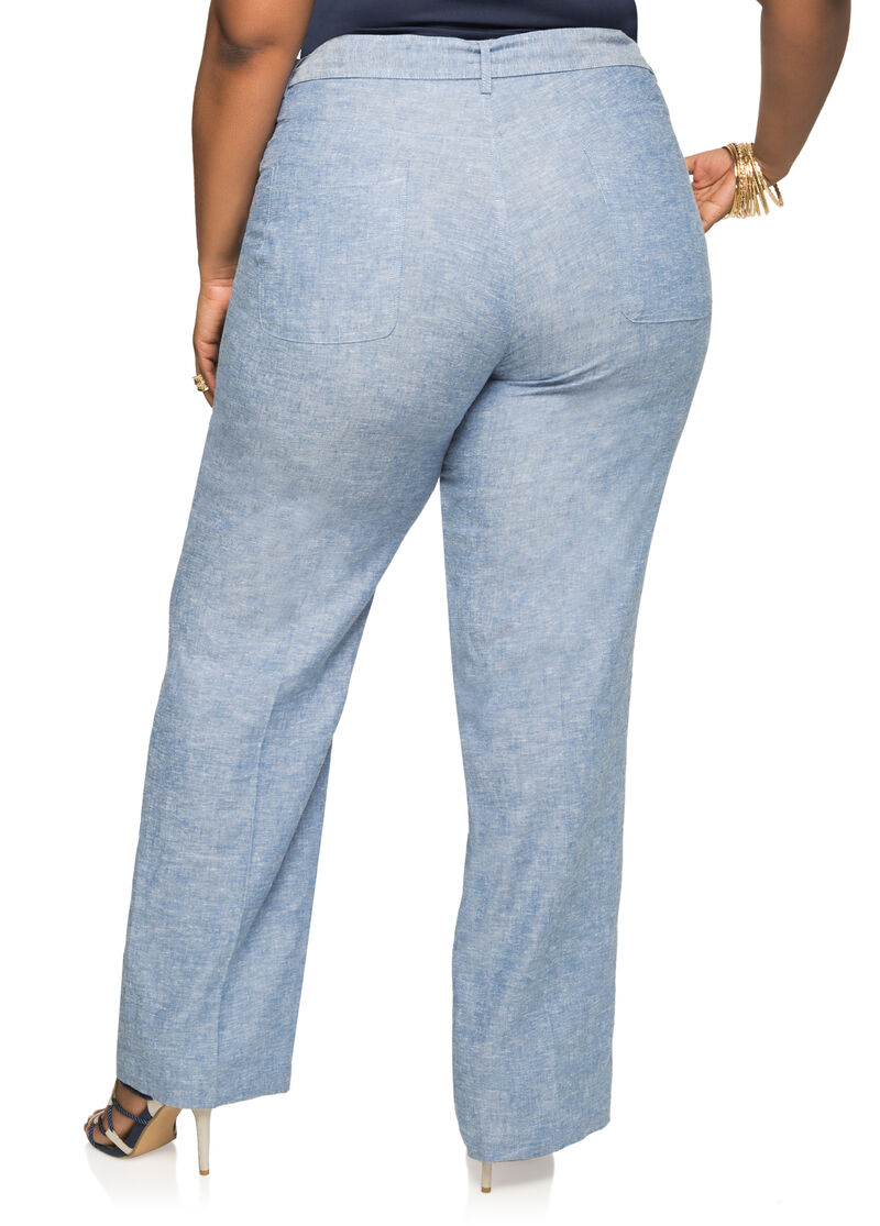 Plus size tie waist chambray linen pants 038 as1008 for Chambray jeans