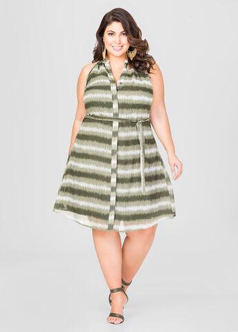 Belted Tie Dye Stripe Dress