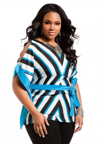 Mitered Striped Color Block Poncho
