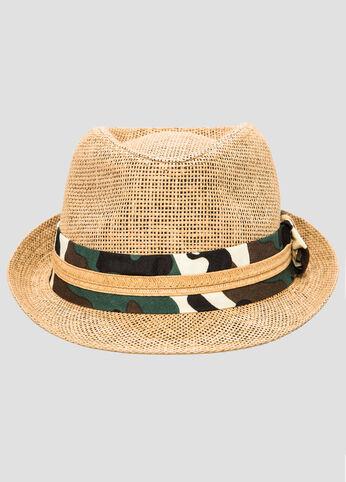 Camo Band Straw Fedora Hat