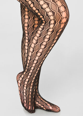 Open Net Diamond Footed Tights