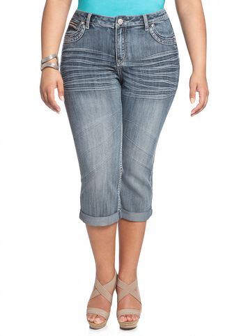 Medium Blue Cuffed Denim Capri