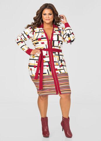Block Print Zip Front Dress