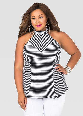 Striped Halter Peplum Top