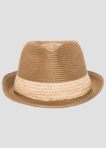Two Tone Straw Fedora Hat