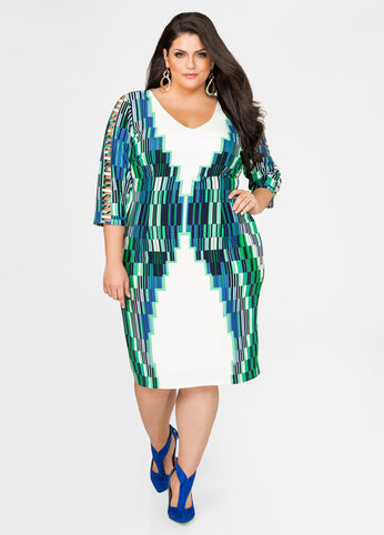 Caged Sleeve Grid Sheath Dress