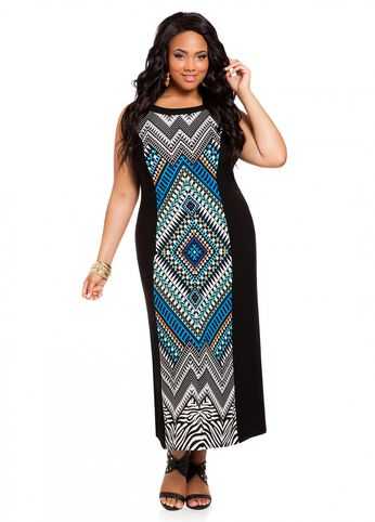 Color Block Abstract Print Maxi