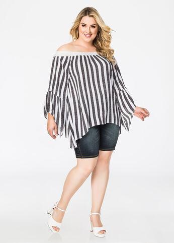 Striped Off-Shoulder Peasant Top